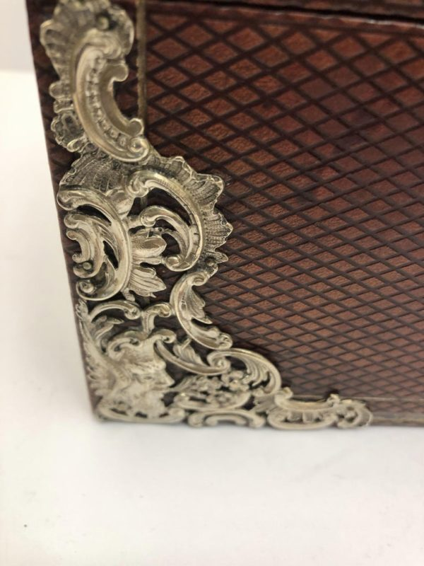 Brown Leather Stationary Box with Silver Decoration by Commyns, London - corner