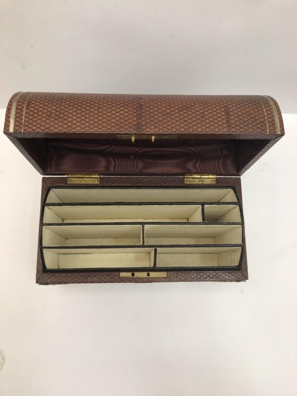 Brown Leather Stationary Box with Silver Decoration by Commyns, London - birds eye view