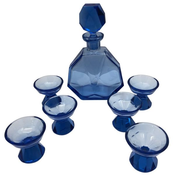 Blue Glass Decanter and 6 Small Glasses