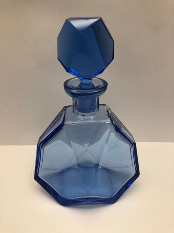 Blue Glass Decanter and 6 Small Glasses - decanter