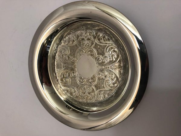 Silver Plate Circular Dish with Embossed Decoration & Broad Rim - main 2