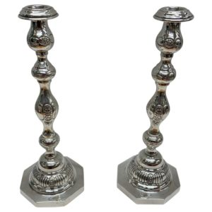 Two Antique Silver Candlesticks with Octagonal Bases, 1936, London