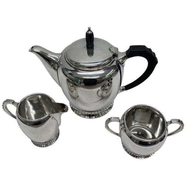 Midcentury Silver Three-Piece Tea Set, 1956