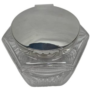 Victorian Glass and Silver Biscuit Box