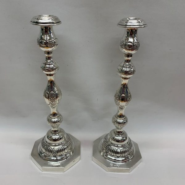 Two Antique Silver Candlesticks with Octagonal Bases, 1936, London - Front