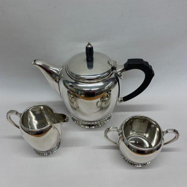 Midcentury Silver Three-Piece Tea Set, 1956 - Front