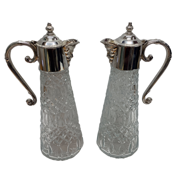 Silver Plated Claret Jugs with Unusual Face Detail on the Lip. Made in c1920.
