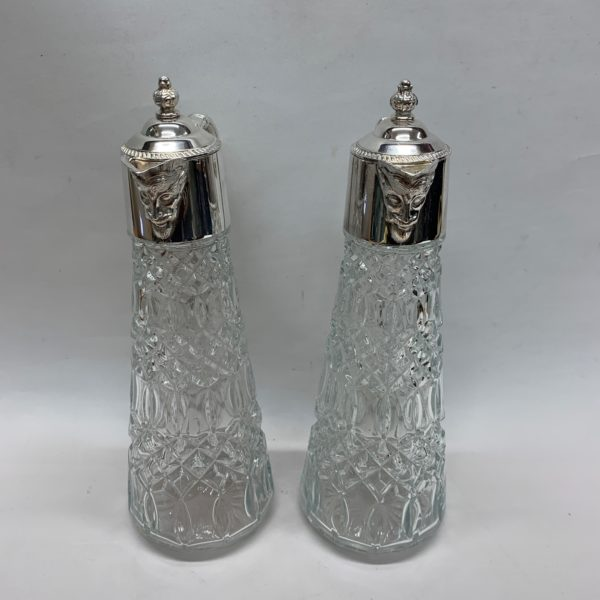 Silver Plated Claret Jugs with Unusual Face Detail on the Lip. Made in c1920. - Side