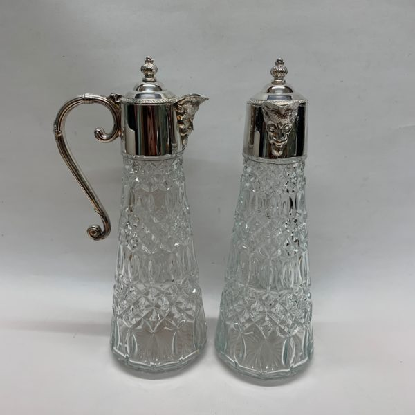 Silver Plated Claret Jugs with Unusual Face Detail on the Lip. Made in c1920. - Handle