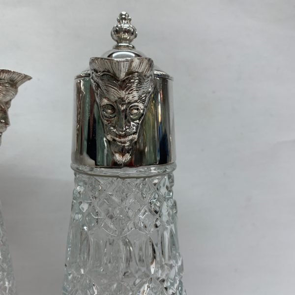 Silver Plated Claret Jugs with Unusual Face Detail on the Lip. Made in c1920. - Lid