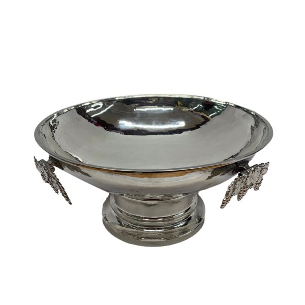Large Silver Bowl with Grape Detail