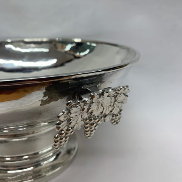 Large Silver Bowl with Grape Detail - Close Up