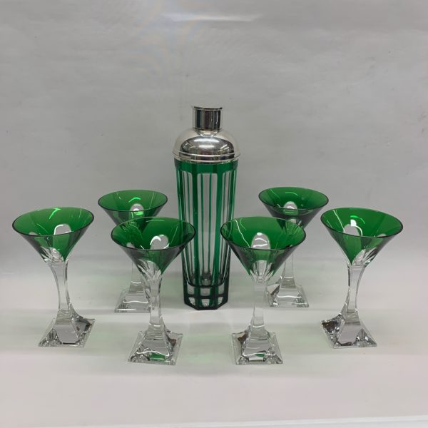 Green and Clear Martini Glass & Shaker with Silver Top - full collection
