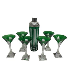 Green and Clear Martini Glass & Shaker with Silver Top