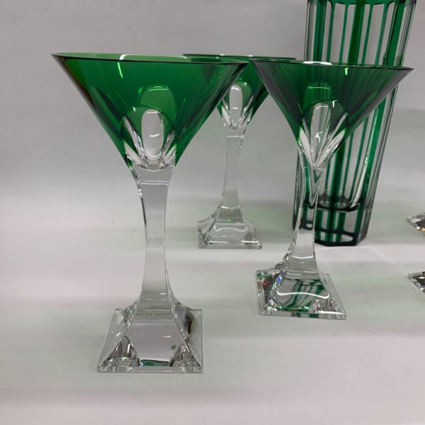 Green and Clear Martini Glass & Shaker with Silver Top - glasses