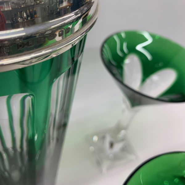 Green and Clear Martini Glass & Shaker with Silver Top - Side