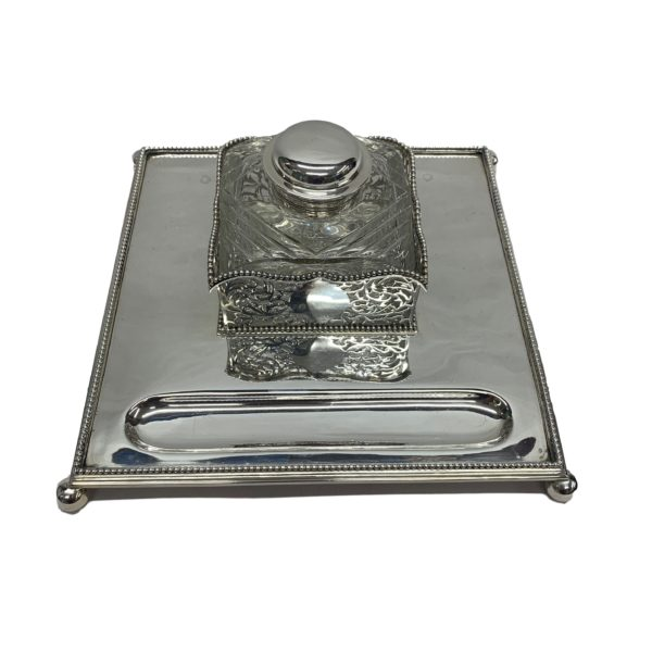 Silver Inkstand with Highly Detailed Glass Ink Top