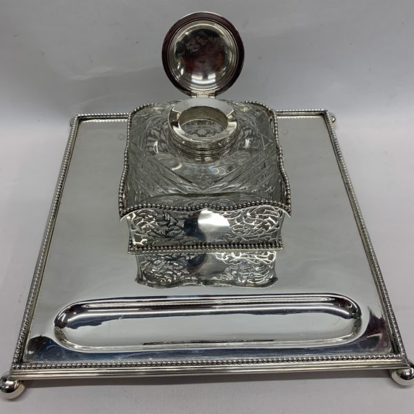Silver Inkstand with Highly Detailed Glass Ink Top - open lid