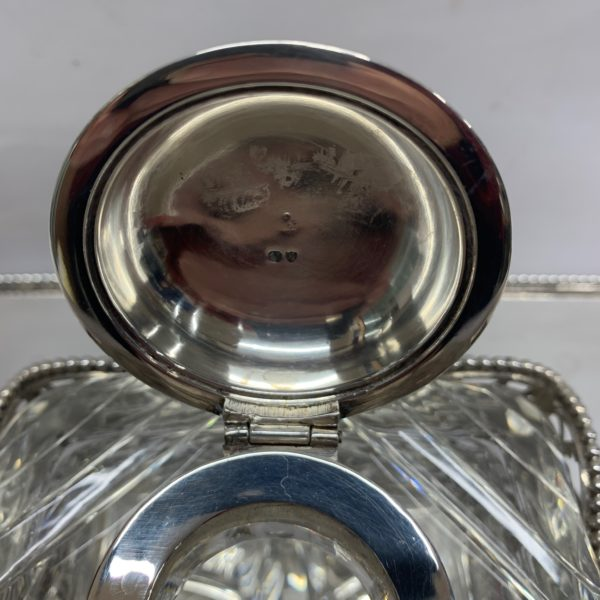 Silver Inkstand with Highly Detailed Glass Ink Top - close up