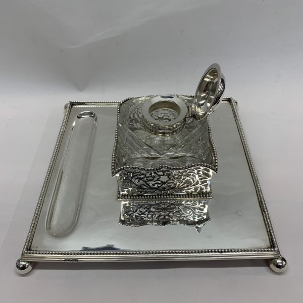 Silver Inkstand with Highly Detailed Glass Ink Top - side