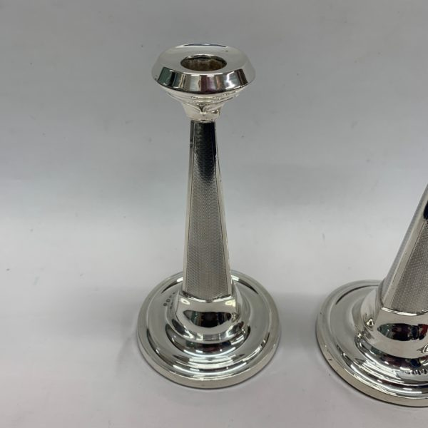 Two Silver Round Candlesticks 1921, From Birmingham - above
