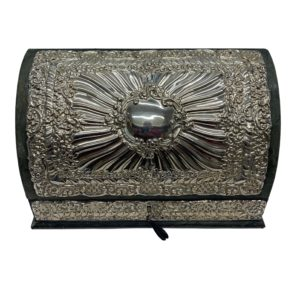 Silver And Green Leather Document Box With Key