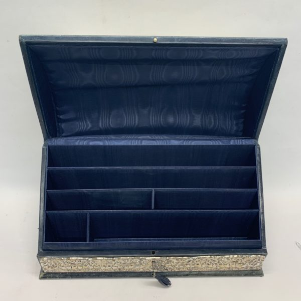 Silver And Green Leather Document Box With Key - open