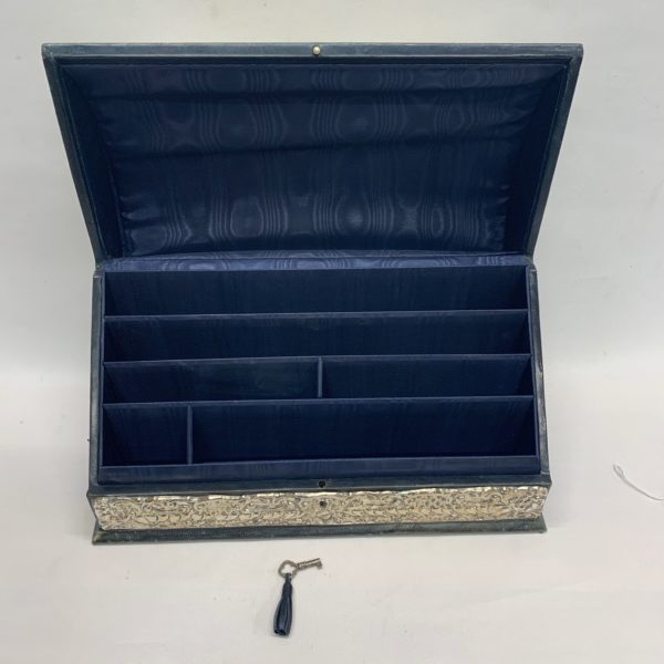 Silver And Green Leather Document Box With Key - above