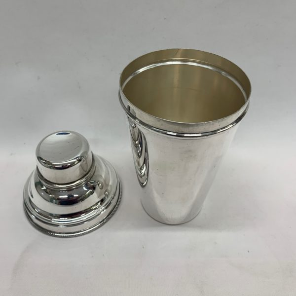 Plain Silver Cocktail Shaker - lid off