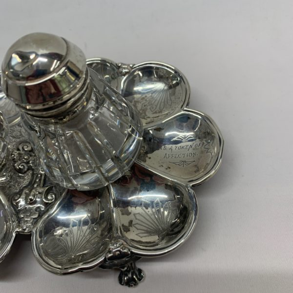 Silver And Glass Inkwell With Tray, Inscribed 1878 - right side