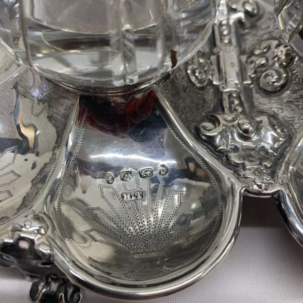 Silver And Glass Inkwell With Tray, Inscribed 1878 - close up